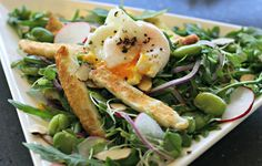 Broad Bean & Smashed Egg Breakfast with Haloumi