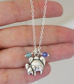 Mother Baby Necklace Mommy Baby Jewelry Elephant by MadiesCharms
