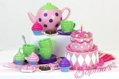 Tea Party Set in Decorative Window Box