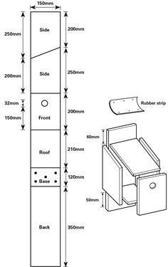 How to cut the wood for your house sparrow nestbox.  Two sides: 150 mm wide, with one side 200 mm high and the opposite side 250 mm high. This means that the roof will slope down towards the front. Front: 150 mm wide by 200 mm. Cut a round hole, 32 mm in diameter, 150 mm up from the bottom. Roof: 150 mm by 210 mm. Base: 150 mm by 120 mm. Drill five drainage holes into this piece. Back: 150 mm by 350 mm.  The roof of the box should start 60 mm from the top of the back piece. The base of the…