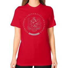 Light Cthulhu in Miskatonic University at Metapolis Unisex T-Shirt (on woman)