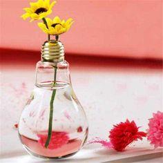 Hanging Light Bulb Shape Plastic Flower Air Plant Container Planter Terrarium Home Decoration