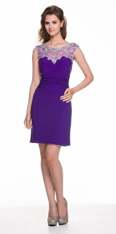 Modest Purple Dress Semi Formal Chiffon Knee Length V Neck Brooch ...