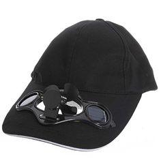 SODIAL(R) NOIR CASQUETTE Chapeau DE SPORT VENTILATEUR ENERGIE SOLAIRE ete Pour Golf Baseball