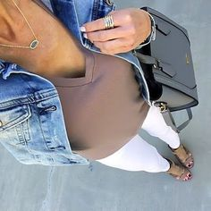 Denim Jacket, Taupe Tee, White Jeans  | On the Daily EXPRESS - Instagram: @ontheDailyX