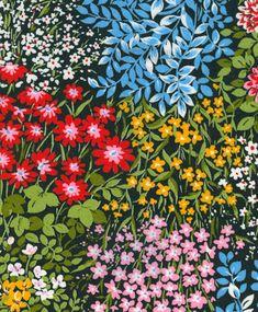 Vintage Multi-Floral Garden Scene available at vickifab Vintage Flower Prints, Vintage Floral Fabric, Vintage Flowers, Apple Watch Wallpaper, Floral Drawing, Art For Art Sake, Ditsy Floral, Surface Pattern Design, Textile Patterns