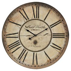 Bring rustic appeal to your entryway or kitchen with this charming wall clock, showcasing a distressed face and dramatic Roman numerals.