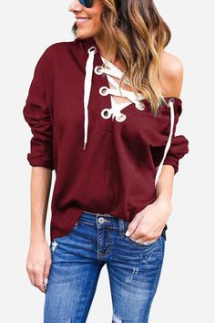 Bungundy Long Sleeves Lace-up Design Hoodie - US$17.95 -YOINS