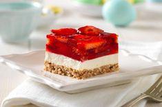 Strawberry dessert. Strawberries, jello, cream cheese, pretzel crust.