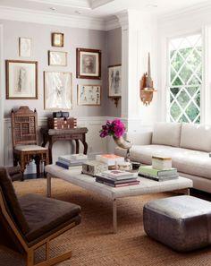 Grey Walls - Elegant Living Room - Gold Frames Gallery Wall