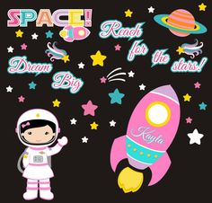 Girls Space Wall Decals - RocketShip Decal - Girls Astronaut Decal - Monogrammed Outer Space Decal - Galaxy Wall Decal - x Monogram Wall Decals, Personalized Wall Decals, Removable Wall Decals, Nursery Stickers, Kids Room Wall Decals, Astronaut Nursery, Girl Nursery, Themed Nursery, Nursery Room