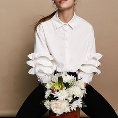 gal @lerapen by @angelosphotos in the Warwick Ruffle Blouse from #TallulahsFortune #SJsisterhood
