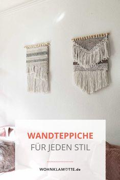 Mit Wandteppichen kann man jede Wand einfach dekorieren. Die kleinen Teppiche bringen ähnlich wie Makramees viel wärme in den Raum. Besonders im Wohnzimmer oder über dem Bett ist der Wandteppich ein schönes Element zur Wanddekoration. Boho Stil, Diy, Inspiration, Home, Tapestry, Small Tapestry, Small Area Rugs, Persian Carpet, Wall Decorations