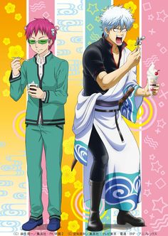 """""""Gintama will have a crossover appearance in the first episode of the second season of Saiki Kusuo no Psi-nan. The episode will air on the 16 of January. Manga Anime, Anime Guys, Anime Crossover, Psi Nan, All Anime Characters, Amaama To Inazuma, Gintama Wallpaper, Awesome Anime, Anime Artwork"""
