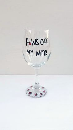 Super Paws Off My Wine hand painted wine glass for dog and cat lovers  DE57