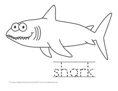 kid color pages shark with handwriting practice for kids
