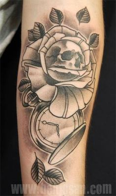 Neotraditional tattoo by Benjo San www.benjosan.com Vanitas and rose. yeah i don't say skull but vanitas 'cause i'm an artist hahaha