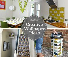 Creative wallpaper uses. Wallpaper isn't just for walls, there are many ways it can be used to transform the mundane in your home into something awesome! Back Wallpaper, Wallpaper Ideas, Kitchen Extension Semi Detached, Country Kitchen Designs, Splashback, Kitchen Decor, Kitchen Ideas, Home Kitchens, Decorating Your Home