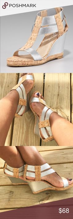 """Donald J. Pliner Metallic Cork Wedge!! Stretch metallic straps joined by cork T-strap. Open toe. Zip backstay. 3"""" metallic covered wedge with cork platform. Padded leather insole. Lugged sole for traction. Lightly used!!! Donald J. Pliner Shoes"""