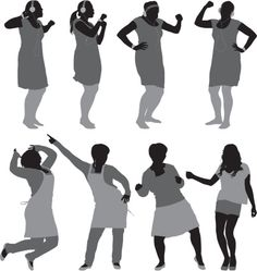 Silhouette of women in different. Figure Reference, Drawing Reference, Human Dimension, People Dancing, Woman Silhouette, Poses, Watercolor Paintings, Presentation, My Arts