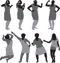 Vectores libres de derechos: Silhouette of women in different poses