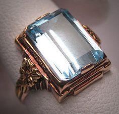 Antique Aquamarine Ring Vintage Art Deco Wedding Gold