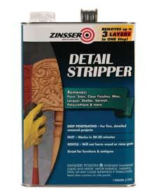 Rust-Oleum® Zinsser® Detail Stripper. Lift paint from intricate grooves of detailed furnishing/carved wood. Deeply penetrating formula flows easily into crevices.  Gentle & Effective. Removes up to 3 layers in ONE step. Fast – works in 20 to 30 minutes.  Gentle – doesn't harm wood or raise grain.  Best Results: Use a stripper brush, scrub rush or pointed stick to help reach deep recesses.