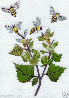 BEES IN THE GARDEN - 2 EMBROIDERED HAND TOWELS by Susan