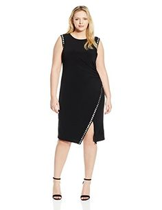 London Times Womens PlusSize Solid Sleeveless Jersey Sheath with Studded Trim Black 18W *** Click image to review more details.
