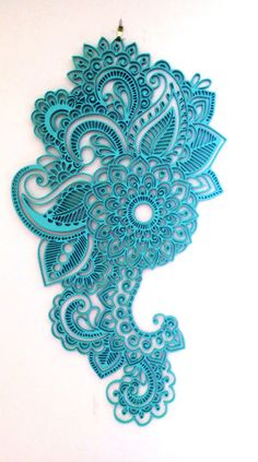 Wooden Turquoise Mandala wall hanging artwork by NovaCakeToppers