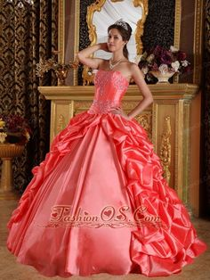 Elegant Orange Red Quinceanera Dress Sweetheart Taffeta Emboridery and Beading Ball Gown http://www.fashionos.com