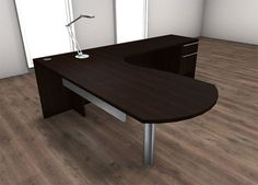 H2O Furniture - 3pc L Shape Modern Executive Office Desk Set,