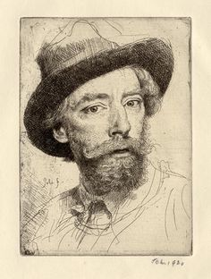 "Augustus John Drawings | Augustus John (Welsh, 1878-1961), Self-Portrait, 1920""As a ..."