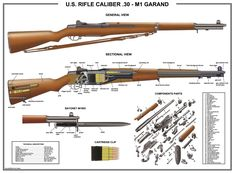 """£7.95 GBP - Poster 12""""X18""""Us Rifle M1 Garand Manual Exploded Parts Diagram D-Day Battle Ww2 #ebay #Collectibles"""