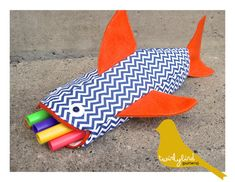 OH MY GOSH!!!! lou would love this! Shark Pencil Holder PDF INSTANT DOWNLOAD by twirlybirdpatterns, $7.00