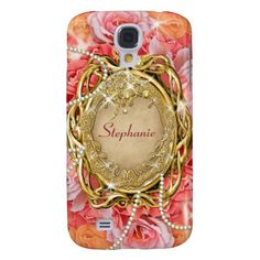 Vintage rose pearls sparkle samsung galaxy s4 cases