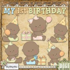 My 1st Birthday 2 - Exclusive Cheryl Seslar Country Clip Art