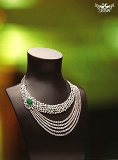 Emerald stone and diamond necklace, by shree raj mahal jewellers, delhi