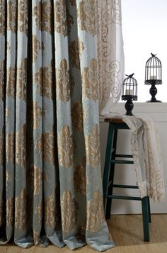 Blue Gold Damask Curtains Made To Order 51 W Or By HereIsTheShop