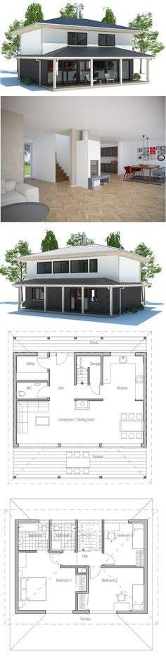 Small House Plan with open and efficient room planning. Three bedrooms, big windows in the living room. Small home design with covered terrace. Affordable to build. Floor Plan from ConceptHome.com