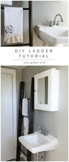 DIY Bathroom Decor Ideas for Teens - Ladder Tutorial - Best Creative, Cool Bath Decorations and Accessories for Teenagers - Easy, Cheap, Cute and Quick Craft Projects That Are Fun To Make. Easy to Follow Step by Step Tutorials http://diyprojectsforteens.com/diy-bathroom-decor-teens