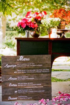 a stained wood menu is ideal for a rustic wedding and you can easily make one yourself - Weddingomania Wedding Desserts, Wedding Menu, Wedding Signs, Wedding Events, Rustic Wedding, Our Wedding, Wedding Decorations, Wedding Ideas, Weddings