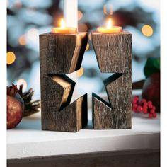 Teelichthalter-setzen Teelichth alter-die meisten Stern, 2-tlg., Holz ca. B6xH15 cm Katalogbild