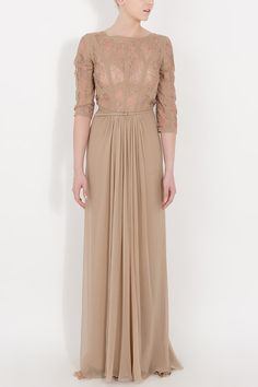 Elie Saab Sleeveless Lace Gown in Beige