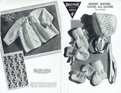 Items similar to PDF Vintage Baby Knitting Pattern Bestway Heirloom Lacy Matinee Halo Bonnet Bootees Mittens Christening Old Fashioned Layette on Etsy Baby Knitting Patterns, Craft Patterns, Crochet Patterns, Quick Knits, Moss Stitch, Baby Bonnets, Baby Christening, Vintage Crafts, Vintage Knitting