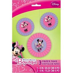 Disney Minnie Mouse Tissue Paper Fan Decorations, 3ct