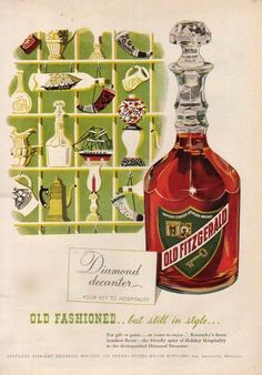 1952 Old Fitzgerald Bourbon Whiskey Diamond Decanter Stitzel Weller 50s Print Ad | eBay