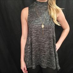 Charcoal Flowy Tank High neckline with charcoal distressed look. 95% Polyester 5% Spandex. Available in S M L Boutique Tops Muscle Tees