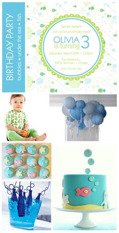 Under the sea birthday party invite, lanterns and favor ideas