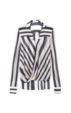 Sheer Stripe Drape Front Blouse by 10 Crosby Derek Lam Now Available on Moda Operandi